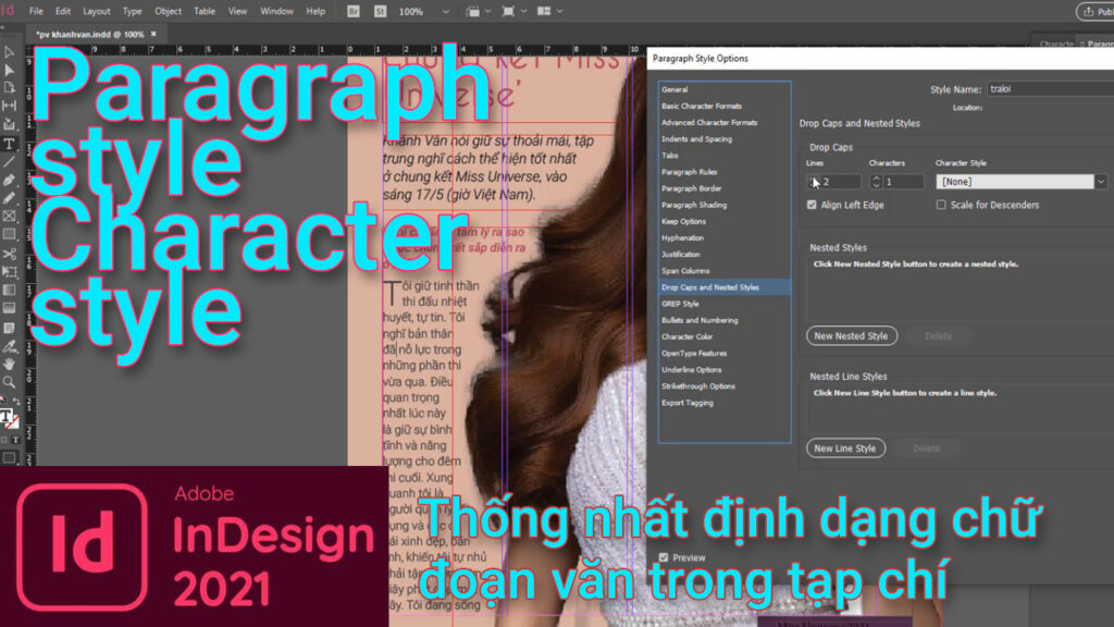 indesign,paragraph style, character style