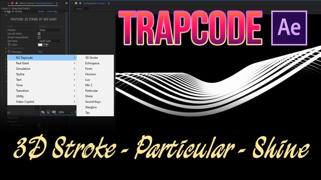 trapcode - plugin after effects - 3d stroke - particular - shine
